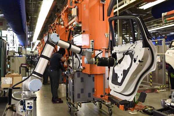 Automotive Manufacturing With Collaborative Robot Concept.